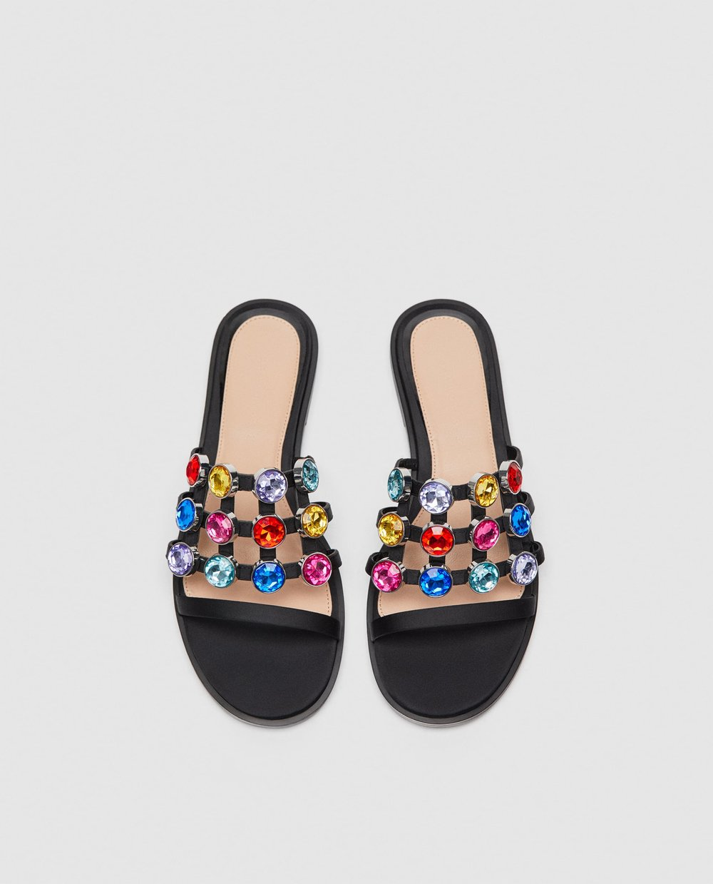Multicolored bejeweled sandals, $70