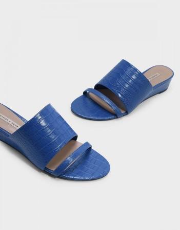Blue faux croc wedges, $40