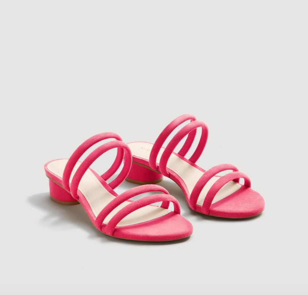 Hot pink strappy sandals, $50