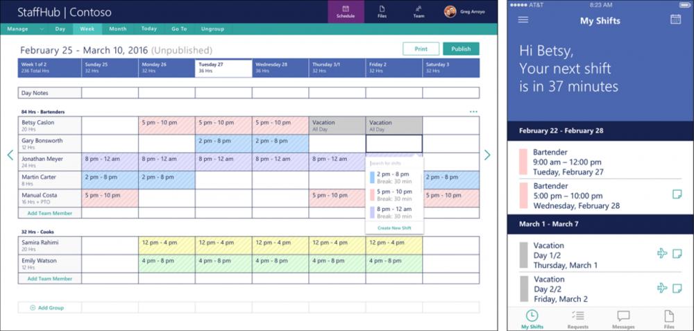 Microsoft StaffHub 現在為公開預覽網頁,Office 365 Enterprise K1, E1, E3 and E5的客戶可以在IOS以及Android上使用。