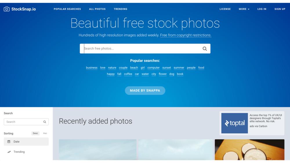 StockSnap   能以日期、趨勢、檢視次數、下載次數及收藏數來檢視圖庫內的照片