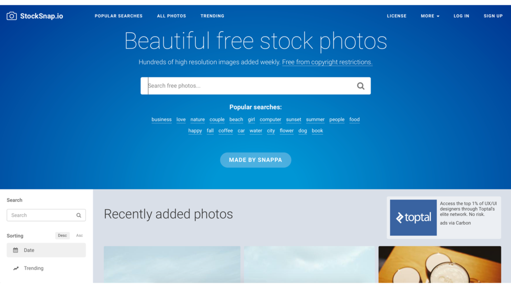 StockSnap 操作介面簡單,分類多元,質感更高的攝影圖庫