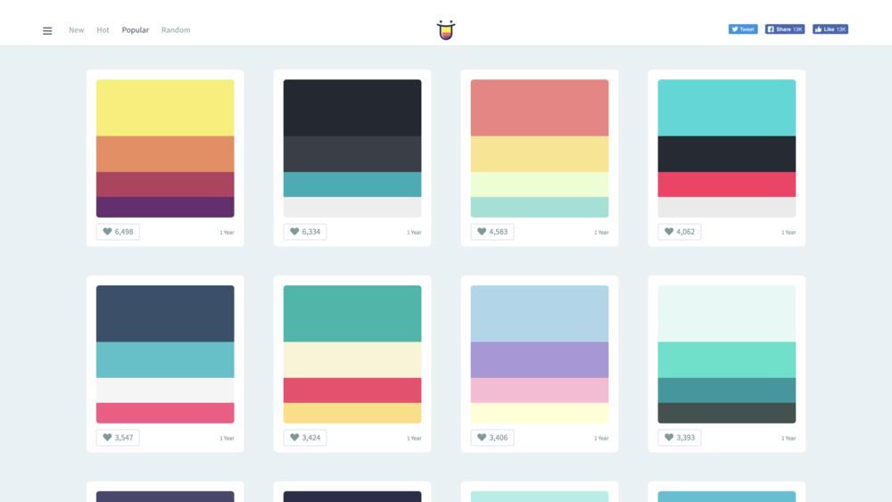 Color Hunt   中譯「色彩獵人」搜集來自全球色彩創意,每個主題由 4 個顏色組成