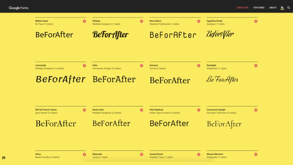 Google Fonts 全系   收錄完整 Google 英文字型,可以直接在網頁上瀏覽字型效果