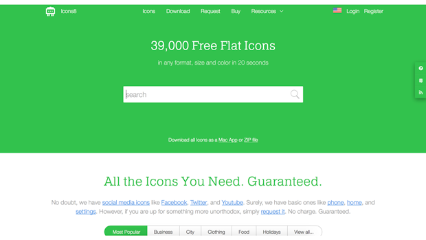 Icons8   將近 40,000 個 icon 圖標,更棒的是它可以自由調整色彩,免費下載