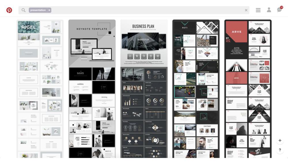 Pinterset 各種創作素材的資料庫,你可以找到幫助你完成專案的設計靈感