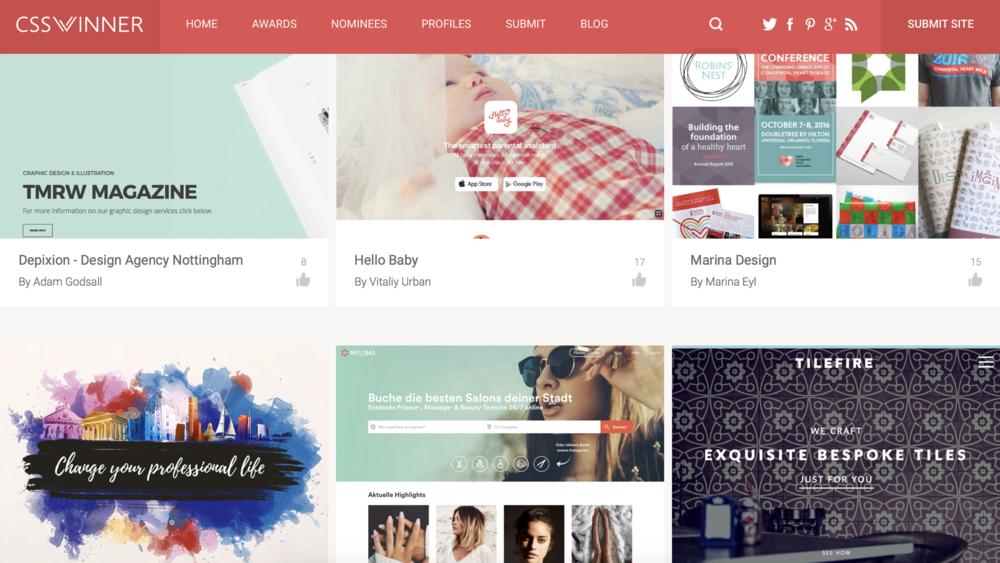 CSS Winner 如其名,網頁設計排行榜,作為簡報封面設計的參考相當實用