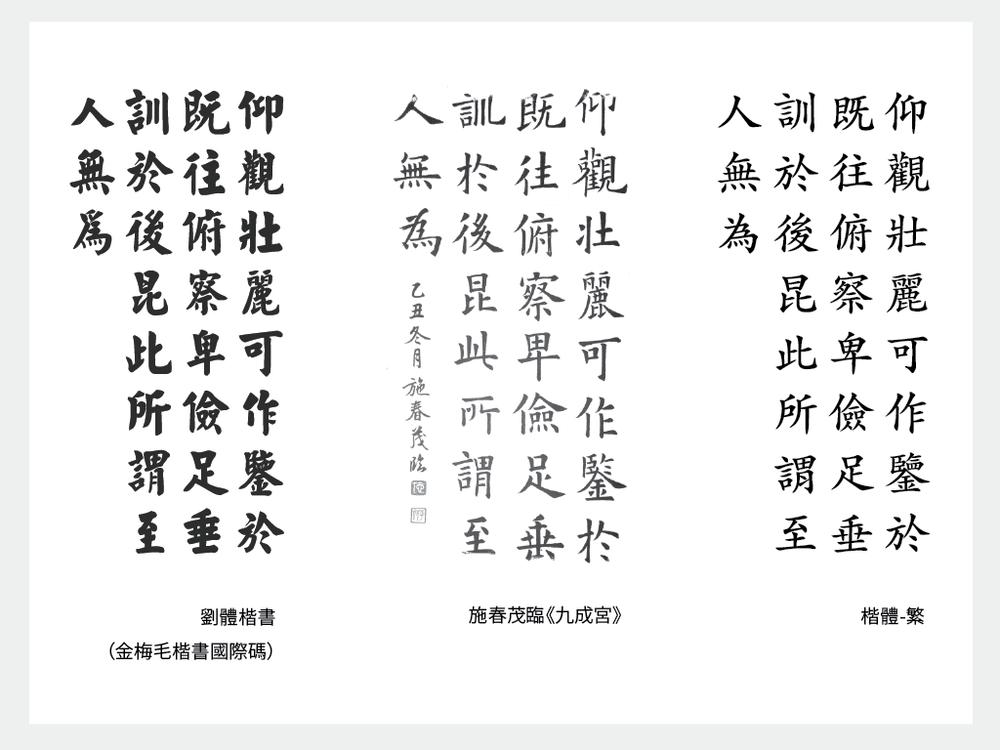 比較電腦化劉體楷書、書法《九成宮醴泉銘》以及 Mac 內建字型「楷體-繁」
