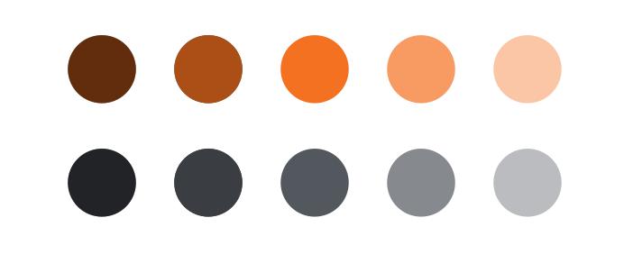 不同濃淡的同色系色彩