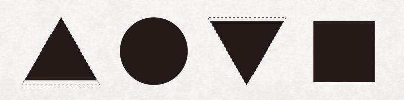 改變三角形底線擺位,略微往下移動