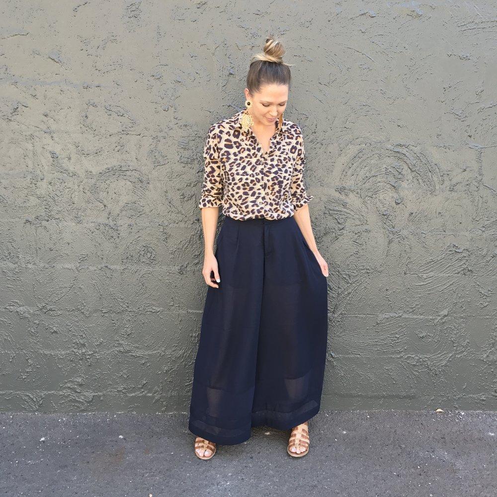 Summer Uniform: Leopard cotton shirt + Navy cotton palazzo pants.