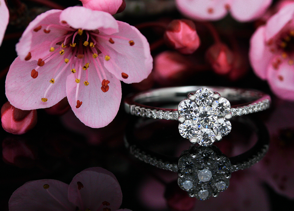 Flower Style Diamond Invisible Setting Ring by AVprophoto