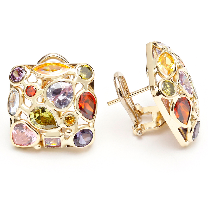 semi rainbow multi precious in design gemstone earrings silver woven