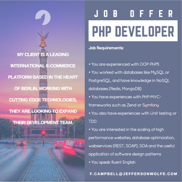 PHP Developer Berlin Germany JEFFERSON WOLFE – Php Developer Job Description