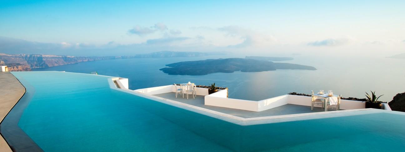 Santorini, Greece Overlooking the Aegean Sea