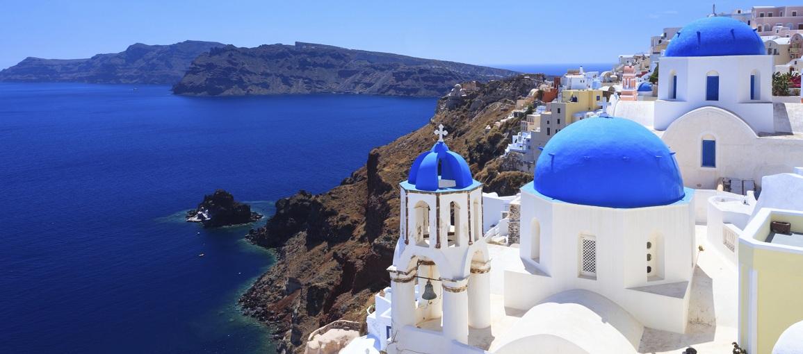 Blue Dome Churches Santorini, Greece