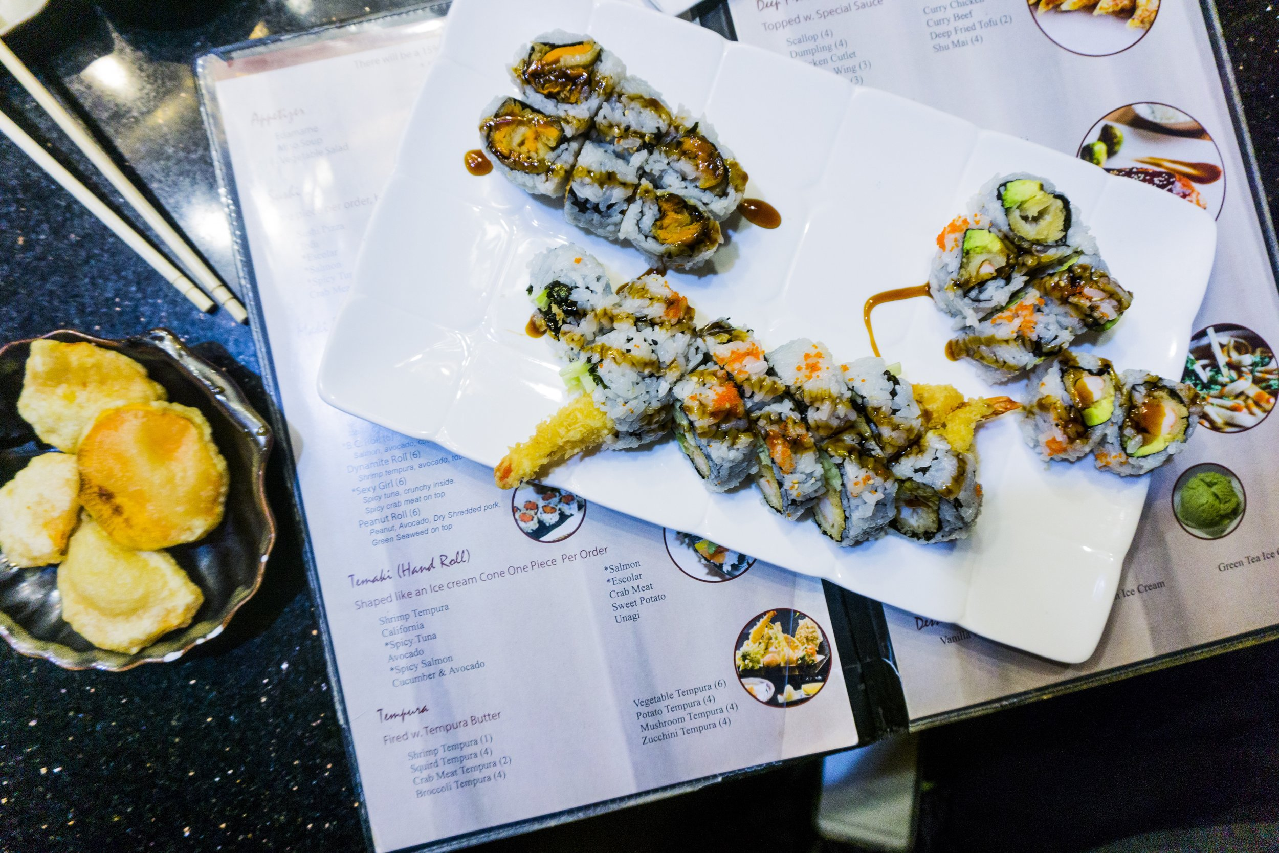 Sushi restaurant in Woodbury, MN. Sushi order. California Rolls. Akita Menu. Food Art