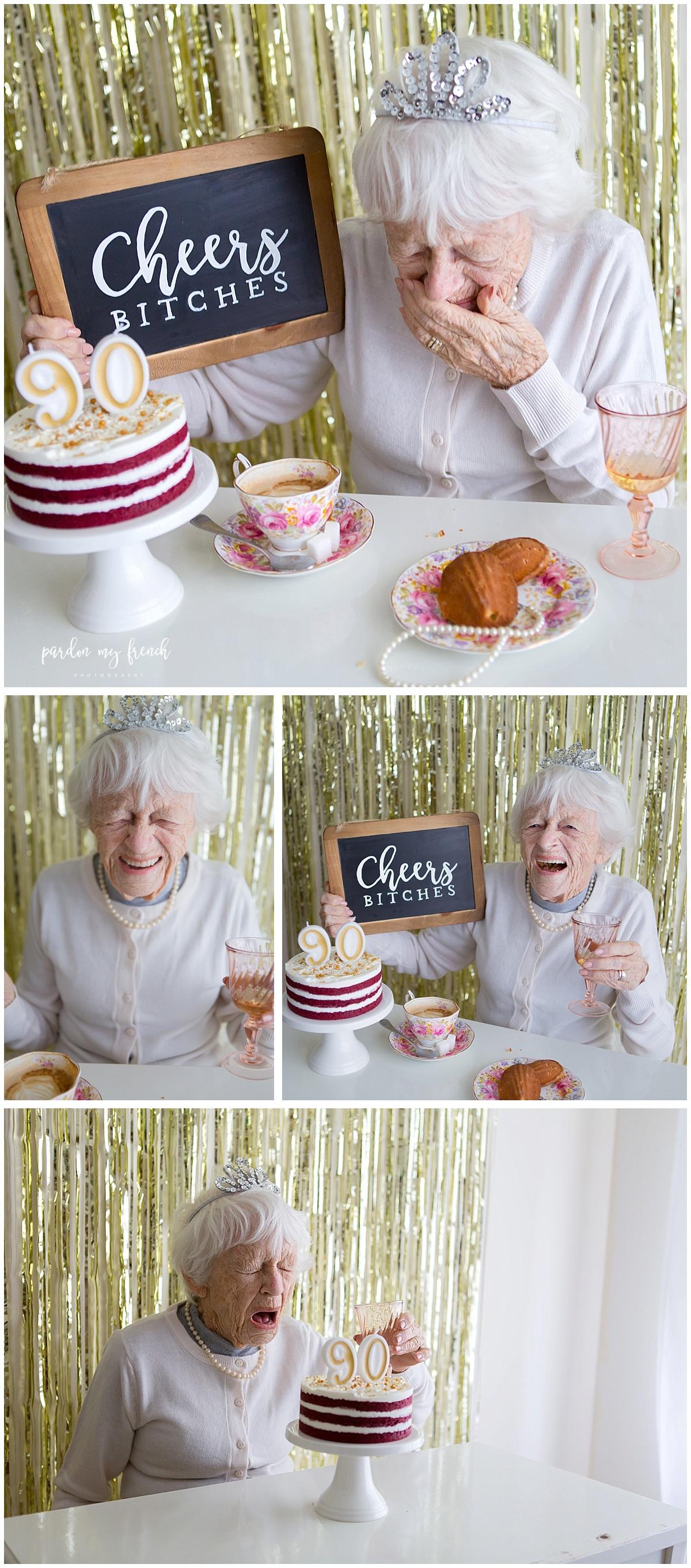 Adelaide Photographer 90 Year Old Birthday Cake Smash Copyright Pardon My French Photography 12