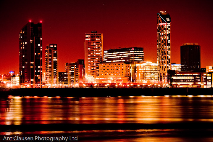 Photo of the Liverpool Skyline at night with reflection in the Mersey