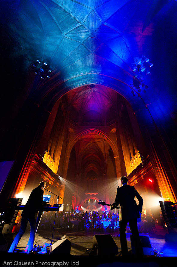 photos of Orchestral Manoeuvres in the Dark in Liverpool anglican cathedral, event, omd, photography