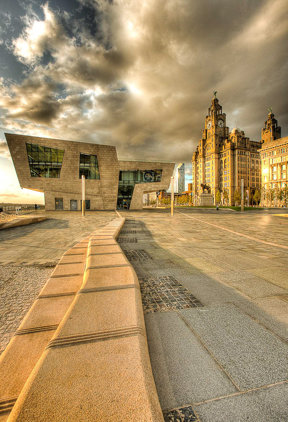 photo of liverpool pier head on the waterfront of the mersey