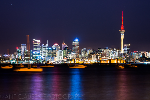 photo of auckland city skyline at night