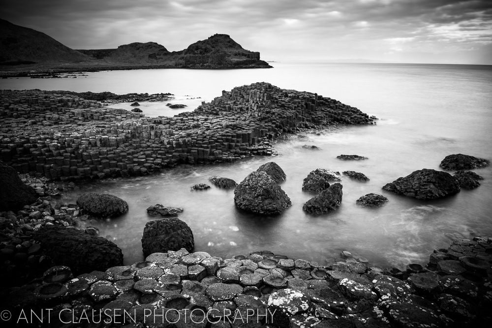 photo of the giant's causeway northern ireland black and white