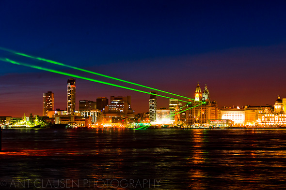 photo of the liverpool waterfront night time laser light display battle of the atlantic alan turing 2013
