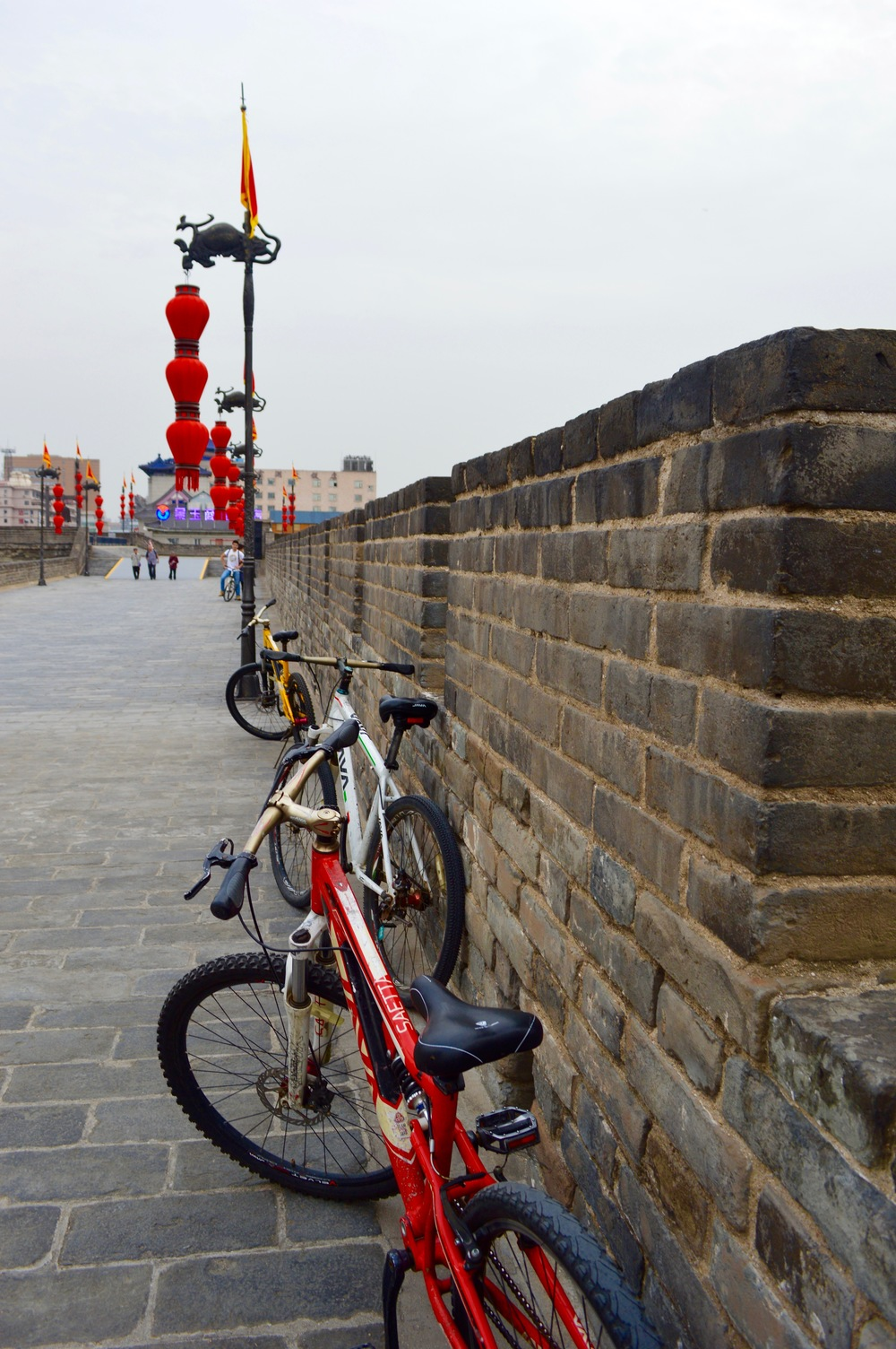 Biking on the old city wall, Xian.