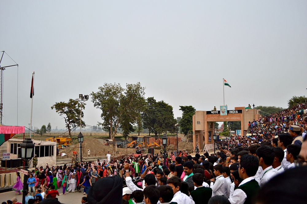 Crowd waiting for the daily flag lowering ceremony at Waga border, the only open entry point between India and Pakistan.