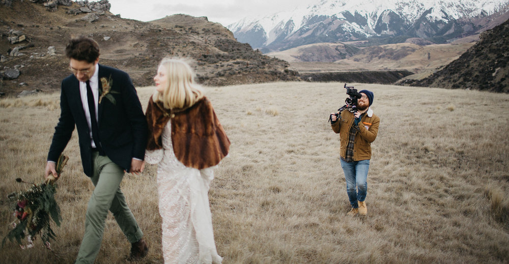 Melbourne wedding videographer Nathan Kaso filming couple in New Zealand