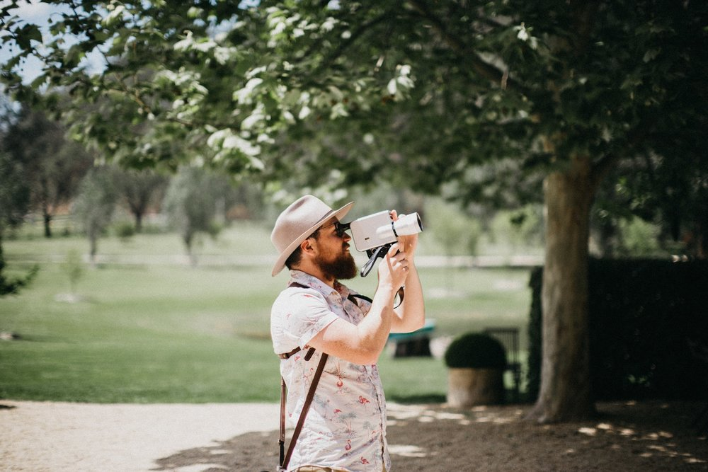 Melbourne wedding videographer Nathan Kaso filming a wedding on super 8 film in the Hunter Valley