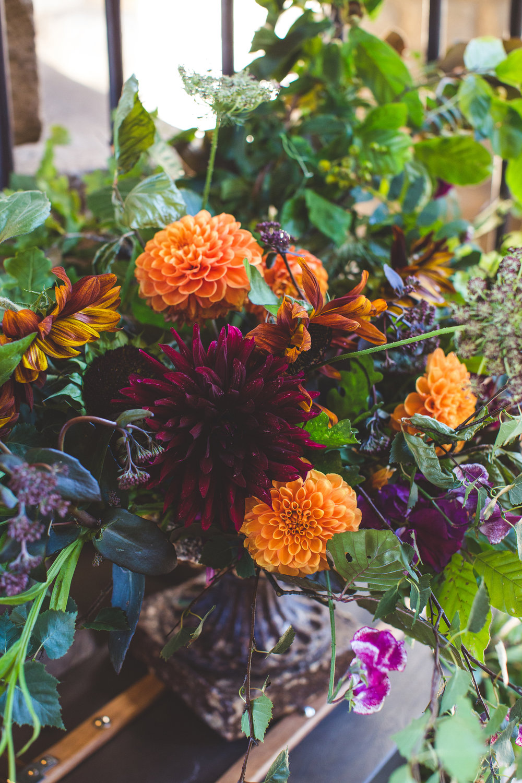 urn of summer flowers