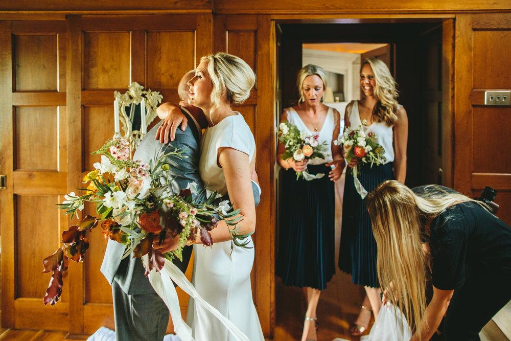 Bride and bridesmaids at home