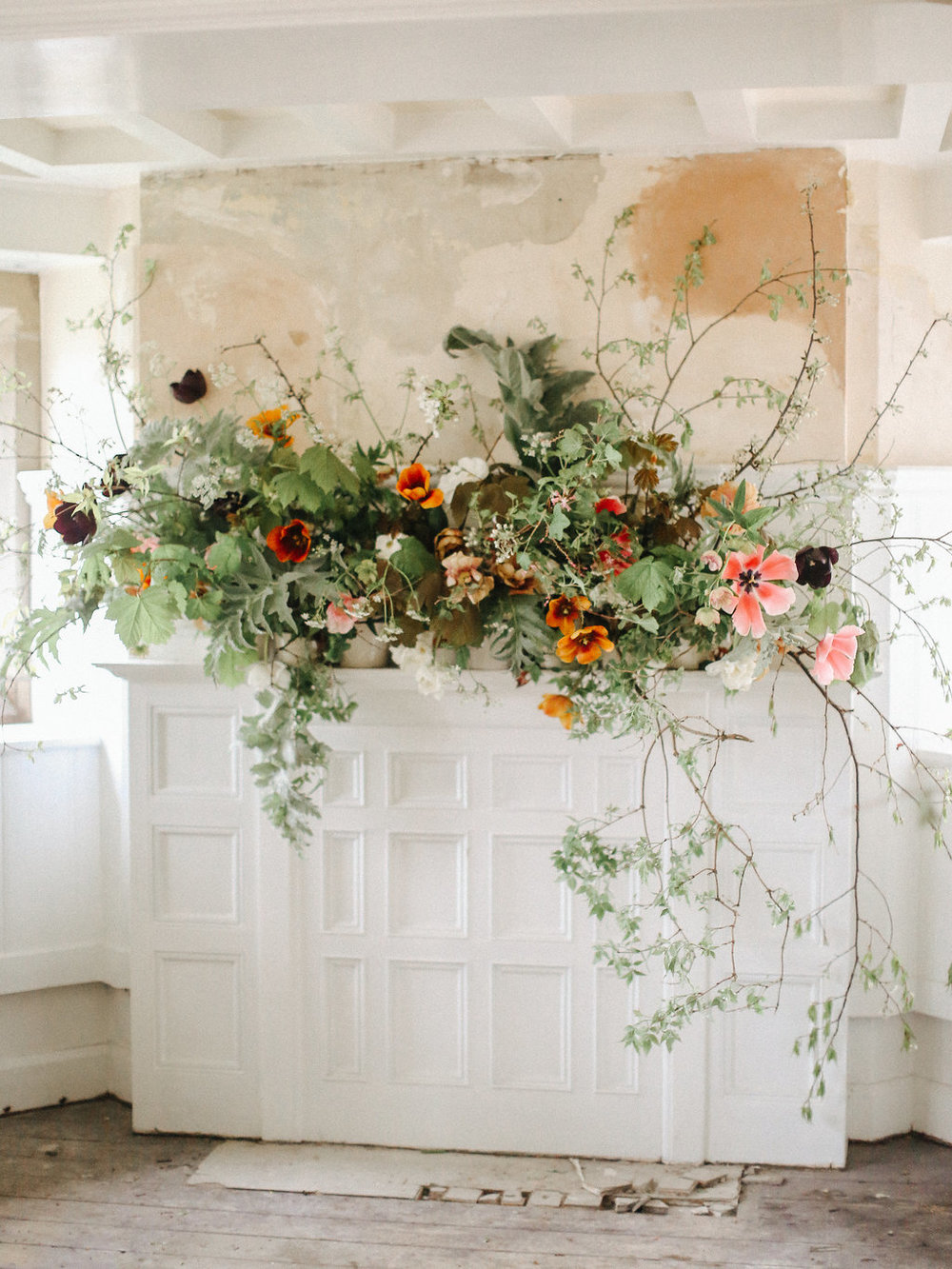 large fireplace florals