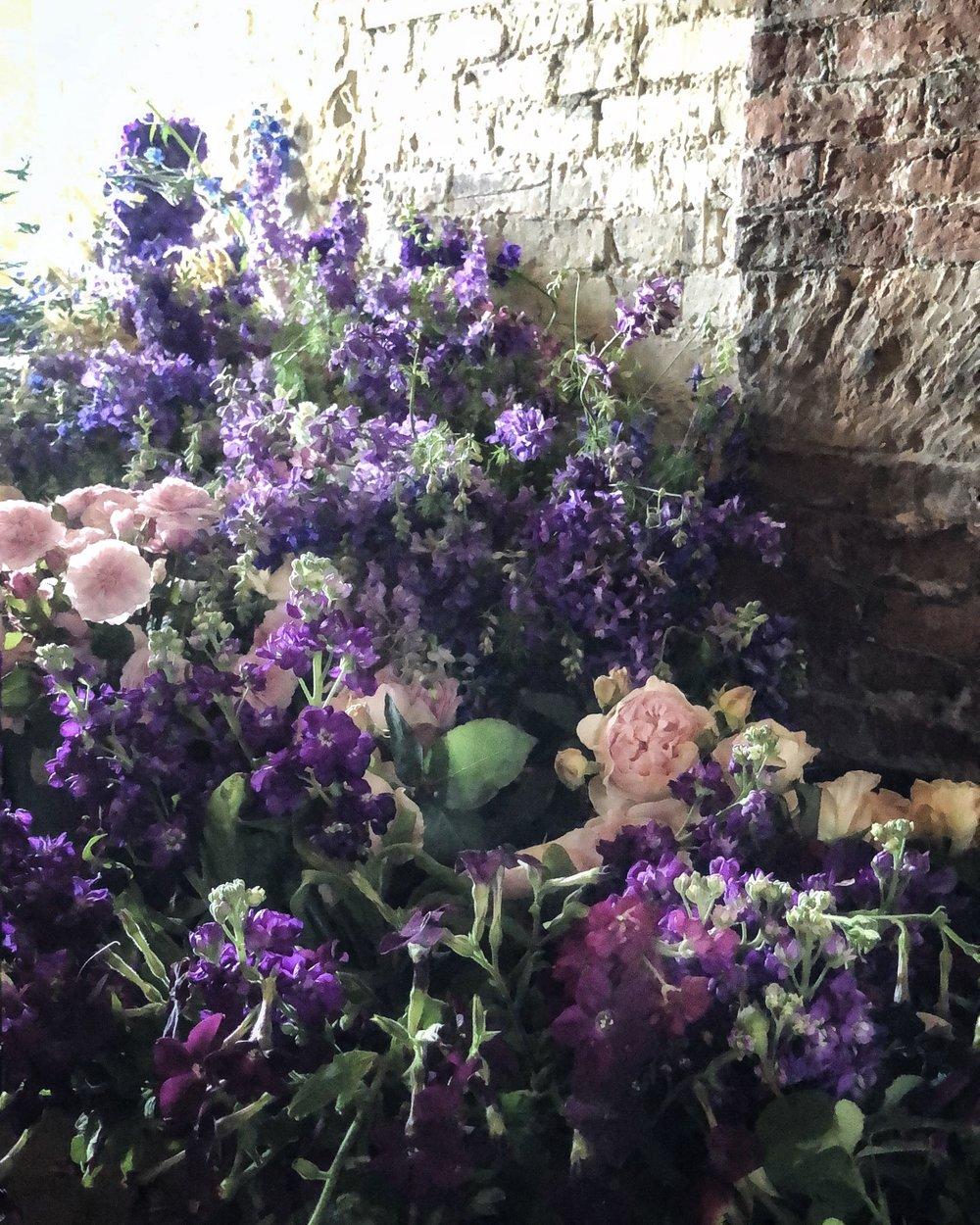 flowers below stairs
