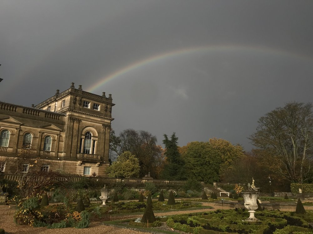 Rainbow and stormy skies over Harewood terrace and wreath installation