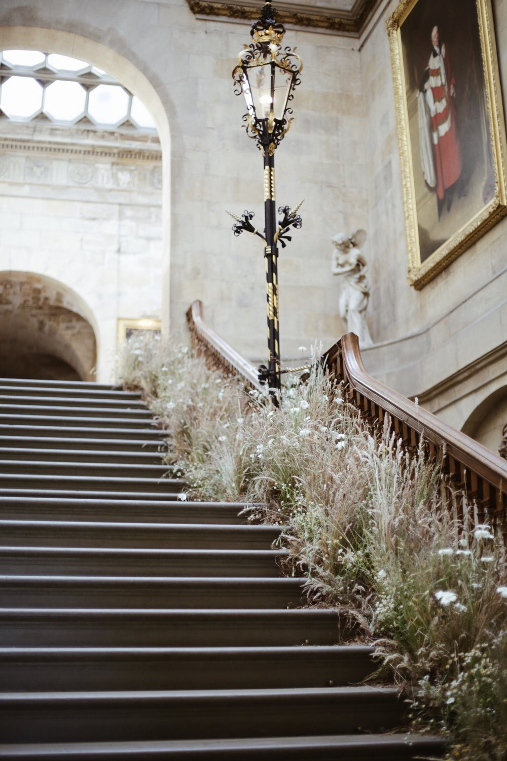 Staircase for Castle Howard Flower Festival created from grasses growing on the Estate - image Hannah Straughan