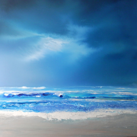Parting Tides - enamel and sea salt on boxed canvas 90 x 90cm - Sold