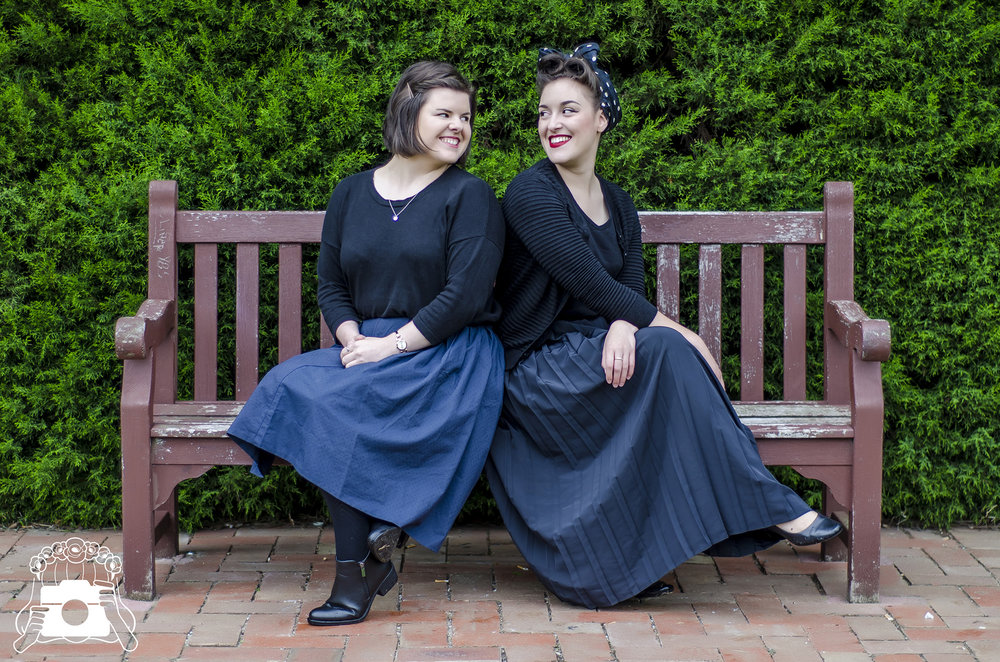 Jess and Ilana in their theatre blacks, Anita G Photography