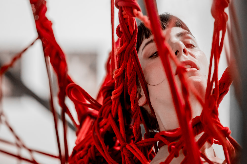 Anna Kingston of Strange Beast Collective collaborates with rope artist Garth Knight (not pictured) at Trocadero art space as part of a live performance piece based in kink and the art of Japanese rope tying.