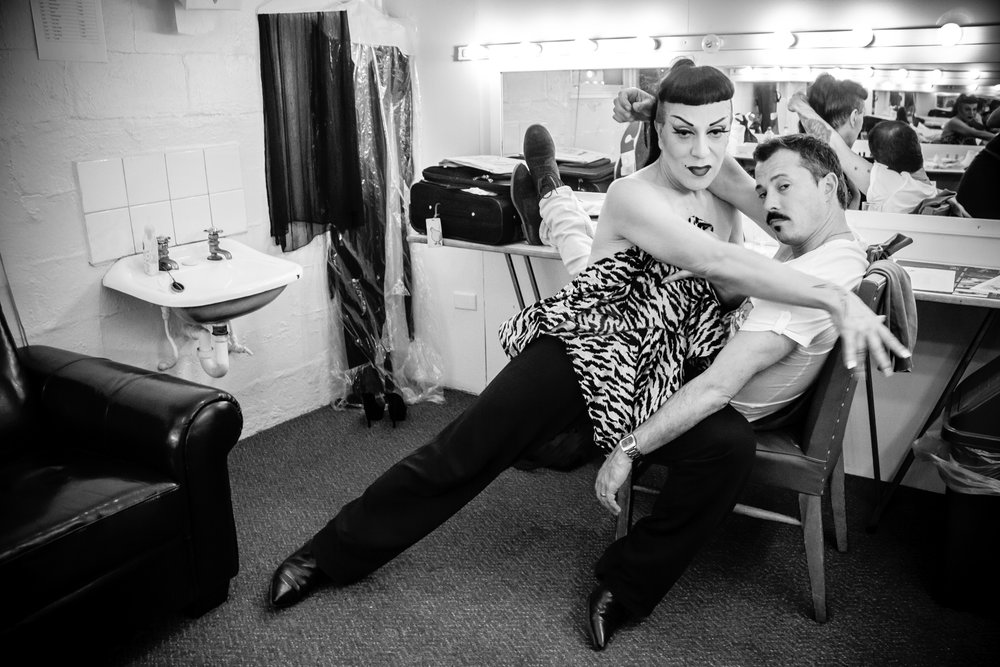 Joey Arias  poses backstage at the Palais Theatre with the piano man for the Melbourne Cabaret Festival's headlining show.