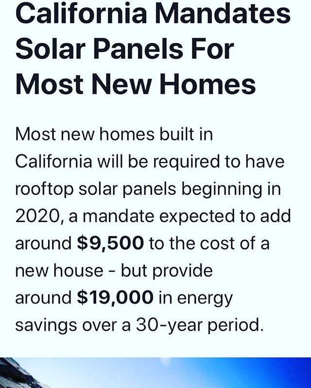 California gets it... ☀️ ✅  State officials vote 5-0 to make solar mandatory for new homes starting in 2020! #cleanergy #solar #california #gogreen #solarpv #solarpower #brightlifesolar #tesla #solaredge #mandate #ourphonesareopen #freequote