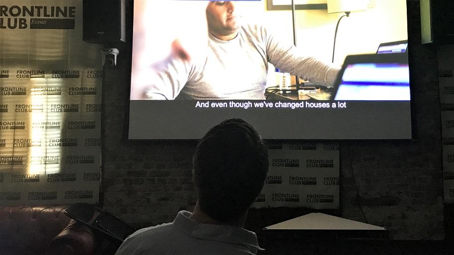 Matthew checks the film before the screening