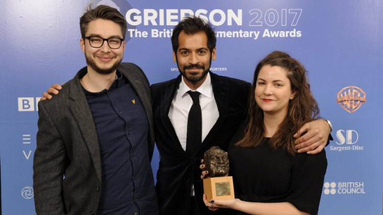 Pictured: Marcel Karst with BBC presenter Adnan Sarwar and Dogwoof's Dorottya Székely