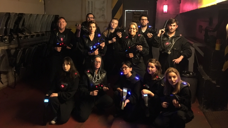Pictured: the team at laser tag