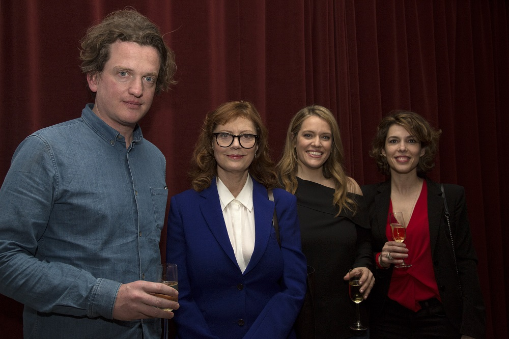 Oli Harbottle, Head of Distribution and Acquisitions at Dogwoof, with Susan Sarandon, Alexandra Dean and Anna Godas