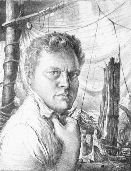 John A. Noble (1913-1983), Self Portrait, Lithograph, Edition 20, 1951 The Noble Maritime Collection, Gift of the Noble Family