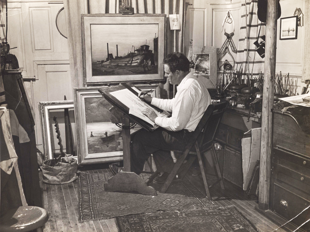 Frank Rino (dates unknown), Noble aboard the houseboat studio, Photograph, 1948, Reprinted from the original photographs in the New York Journal American, The Noble Maritime Collection
