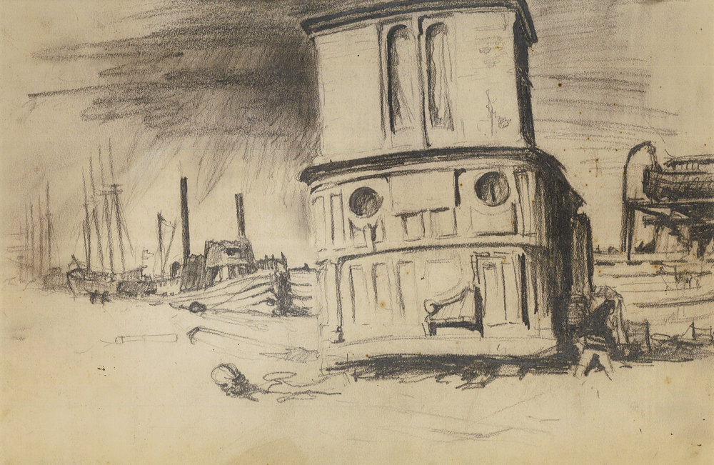 "John A. Noble (1913-1983), Noble's studio on the pier of Port Johnston, Pencil on paper, 9 ½"" x 13 ½"""